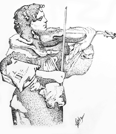A Soldier playing Violin